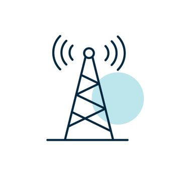 Communication antenna vector icon. Navigation sign. Graph symbol for travel and tourism web site and apps design, logo, app, UI