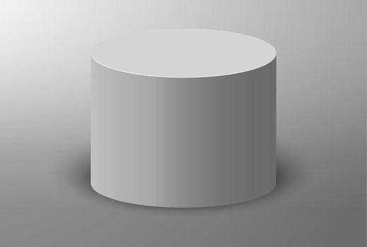 Pedestal platform or showroom stand. 3D podium. White round studio stage platform. Vector empty arena.