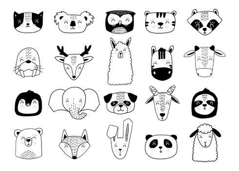 Scandinavian animals. Nordic cute animal set. Vector hand drawn panda, funny deer fox llama raccoon koala faces.