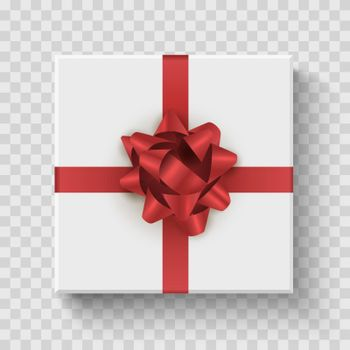 Gift box top view. Celebration prize square box with red bow. Vector realistic birthday decoration.