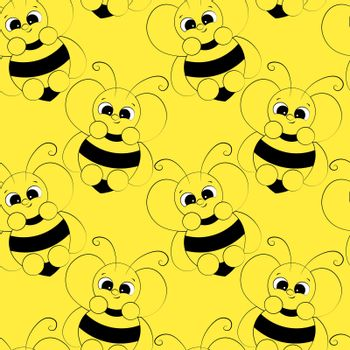 Seamless vector pattern with outline cute cartoon bee