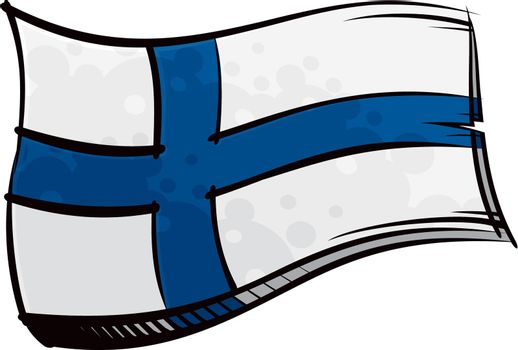 Painted Finland flag waving in wind