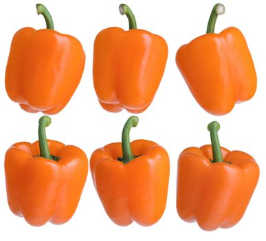 Orange bell peppers from different sides isolated on a white background