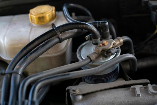 Detail of the diesel filter inside the engine