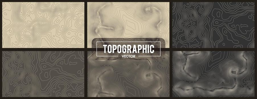 Set of Topographic map contour backgrounds. Topo map with elevation. Contour map vector. Geographic World Topography map grid abstract vector illustration.