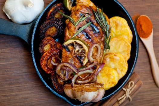 roasted grilled BBQ chicken breast with herbs and spices
