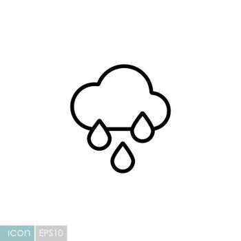 Raincloud with raindrops vector icon. Meteorology sign. Graph symbol for travel, tourism and weather web site and apps design, logo, app, UI
