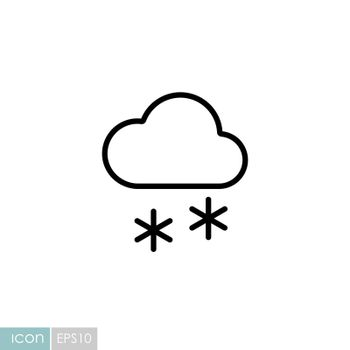 Cloud with snow vector icon. Meteorology sign. Graph symbol for travel, tourism and weather web site and apps design, logo, app, UI