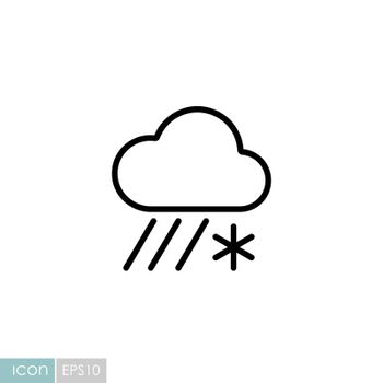 Raincloud with snow vector icon. Meteorology sign. Graph symbol for travel, tourism and weather web site and apps design, logo, app, UI