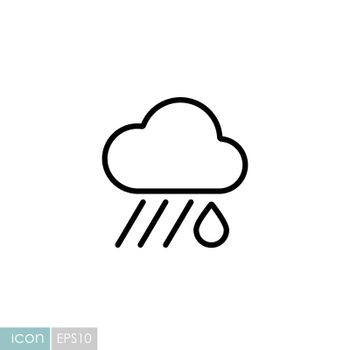 Raincloud with raindrop vector icon. Meteorology sign. Graph symbol for travel, tourism and weather web site and apps design, logo, app, UI