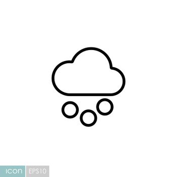 Cloud with snow grain vector icon. Meteorology sign. Graph symbol for travel, tourism and weather web site and apps design, logo, app, UI
