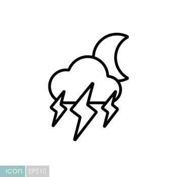 Moon storm cloud vector icon. Rainstorm symbol. Meteorology sign. Graph symbol for travel, tourism and weather web site and apps design, logo, app, UI