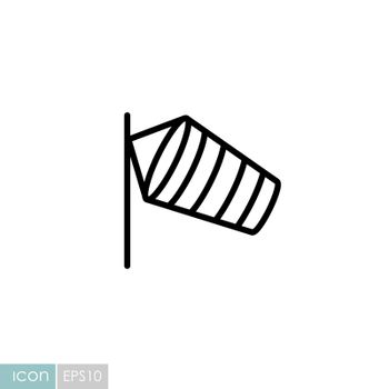 Windsocks hanging at the airport runway vector icon. Meteorology sign. Graph symbol for travel, tourism and weather web site and apps logo, app, UI