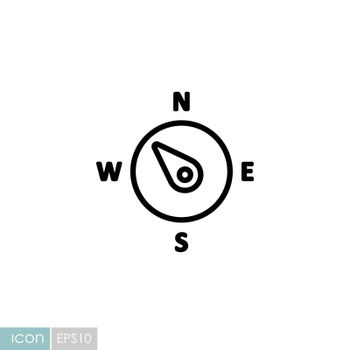 Compass wind rose vector icon. Direction northwest. Meteorology sign. Graph symbol for travel, tourism and weather web site and design, logo, app, UI