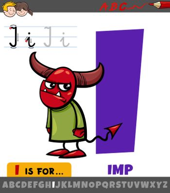 letter I worksheet with cartoon imp character
