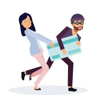 Flat Vector Character illustration,Woman try to put her credit card back from thief ,The thief is stealing a credit card, Hack credit card concept, ,Cartoon style.