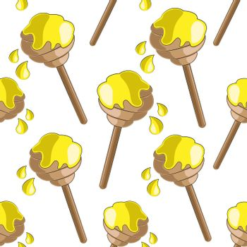 Seamless vector pattern with cute cartoon bee