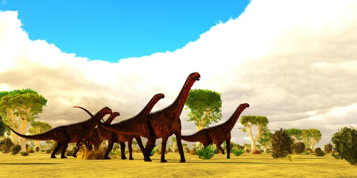 A Mierasaurus sauropod dinosaur herd travels together among a landscape of Red Oak trees during the Cretaceous Period of Utah, USA.