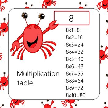 Multiplication Square. School vector illustration with crab. Multiplication Table. Poster for kids education. Maths child card