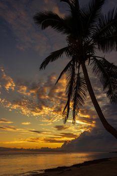 Colorful sunrise on the Tambua Sands Beach on Fiji Island, Fiji