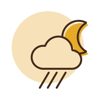 Raincloud with moon icon. Weather sign