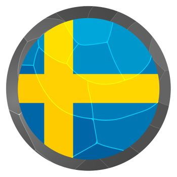 Glass light ball with flag of Sweden. Round sphere, template icon. Swedish national symbol. Glossy realistic ball, 3D abstract vector illustration highlighted on a white background. Big bubble.