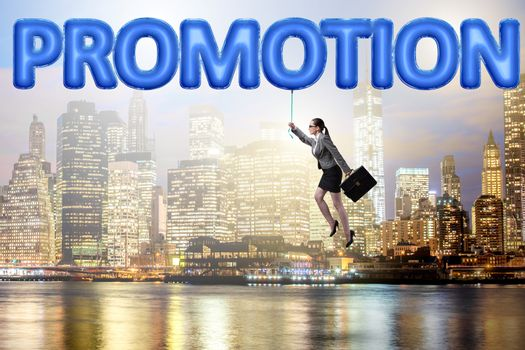 Businesswoman flying in promotion concept