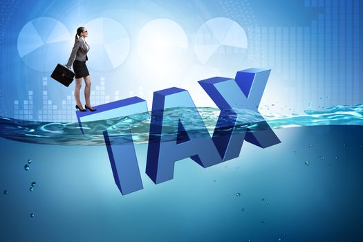 Businesswoman having problems with paying taxes