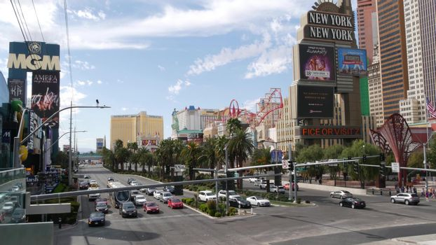LAS VEGAS, NEVADA USA - 7 MAR 2020: The Strip boulevard with luxury casino and hotels in gambling sin city. Car traffic on road to Fremont street in tourist money playing resort. New York-New York