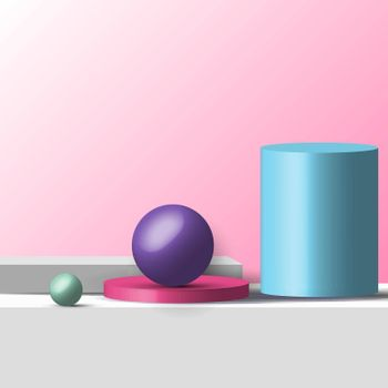 3D realistic geometric shapes pastel color product shelf standing backdrop with circle blank pedestal podium display on pink background with lighting. Stage floor for your graphic. Studio room showcase of modern interior design. Vector illustration.