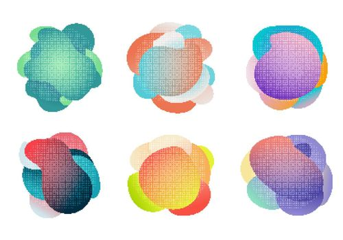 Badges set of fluid or liquid gradient shapes elements with halftone effect isolated on white background. Vector illustration