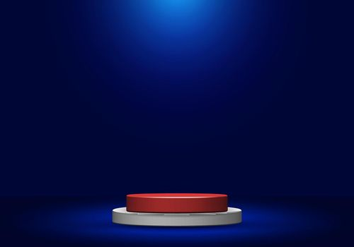 3d realistic white and red round shape pedestal with spotlight on blue studio room background. Stage display podium for product advertising. Vector illustration