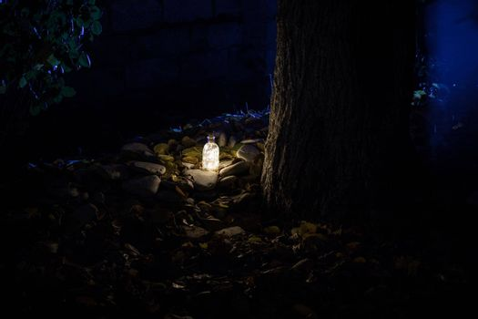 Beautiful view of bottle with light at night at the garden. Lamp Magical fairy dust potion in bottle in the forest. Long exposure shot. Selective focus
