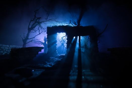 Old ruined stone house in deserted garden at night. Abandoned old mystic building with dead tree and misty backlight. Selective focus