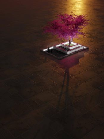 Purple tree in a zen-like marble bed with fallen petals at sunset. Fantasy background with large negative space. Digital render.