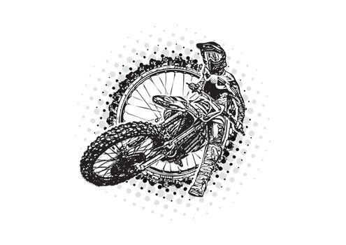 motocross rider vector illustration