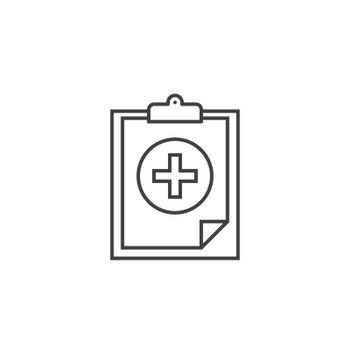 Healthy report Thin Line Related Vector Icon. Flat Icon Isolated on the Black Background. Editable Stroke EPS file. Vector illustration.