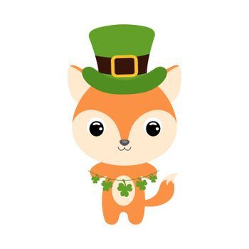 Cute fox in green leprechaun hat. Cartoon sweet animal with clovers. Vector St. Patrick's Day illustration on white background. Irish holiday folklore theme.