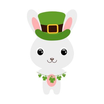 Cute rabbit in green leprechaun hat. Cartoon sweet animal with clovers. Vector St. Patrick's Day illustration on white background. Irish holiday folklore theme.