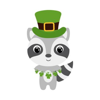 Cute raccoon in green leprechaun hat. Cartoon sweet animal with clovers. Vector St. Patrick's Day illustration on white background. Irish holiday folklore theme.