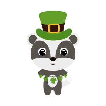 Cute badger in green leprechaun hat. Cartoon sweet animal with clovers. Vector St. Patrick's Day illustration on white background. Irish holiday folklore theme.