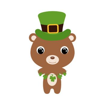 Cute bear in green leprechaun hat. Cartoon sweet animal with clovers. Vector St. Patrick's Day illustration on white background. Irish holiday folklore theme.