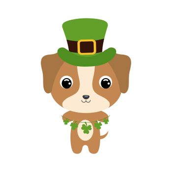 Cute dog in green leprechaun hat. Cartoon sweet animal with clovers. Vector St. Patrick's Day illustration on white background. Irish holiday folklore theme.