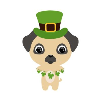 Cute pug dog in green leprechaun hat. Cartoon sweet animal with clovers. Vector St. Patrick's Day illustration on white background. Irish holiday folklore theme.
