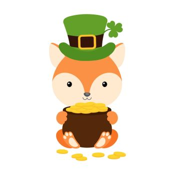 Cute fox in green leprechaun hat with clover holds bowler with gold coins. Cartoon sweet animal. Vector St. Patrick's Day illustration on white background. Irish holiday folklore theme.