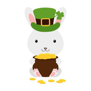 Cute rabbit in green leprechaun hat with clover holds bowler with gold coins. Cartoon sweet animal. Vector St. Patrick's Day illustration on white background. Irish holiday folklore theme.