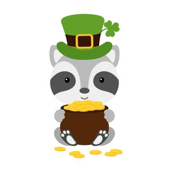 Cute raccoon in green leprechaun hat with clover holds bowler with gold coins. Cartoon sweet animal. Vector St. Patrick's Day illustration on white background. Irish holiday folklore theme.