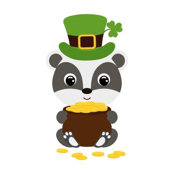 Cute badger in green leprechaun hat with clover holds bowler with gold coins. Cartoon sweet animal. Vector St. Patrick's Day illustration on white background. Irish holiday folklore theme.