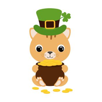 Cute cat in green leprechaun hat with clover holds bowler with gold coins. Cartoon sweet animal. Vector St. Patrick's Day illustration on white background. Irish holiday folklore theme.