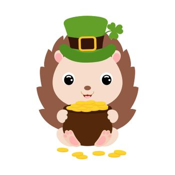 Cute hedgehog in green leprechaun hat with clover holds bowler with gold coins. Cartoon sweet animal. Vector St. Patrick's Day illustration on white background. Irish holiday folklore theme.